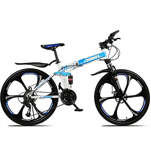 bintyue6 inch bike,mountain bike 26 inch,full suspension mountain bike, folding bikes for adults,mountain bike,adult bike,adult mountain bike(6 cutter wheels) WHITEBLUE,21 SPEED
