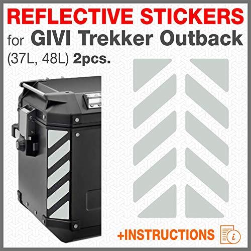 2pcs Adhesivos Reflectantes para GIVI Trekker Outback 37L 48L (White)