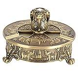 Atyhao Cenicero Elefante Vintage, cenicero portátil a Prueba de Viento Elefante patrón Bronce aleación de Zinc Europea Metal artesanía Exclusiva decoración del hogar