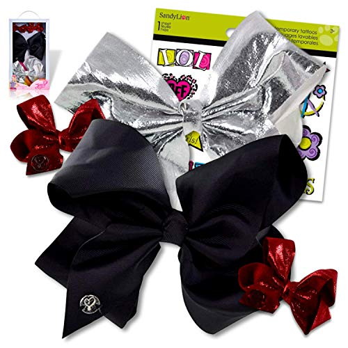 JoJo Siwa Bows Signature Collection Hair Bows in A Box for Girls - JoJo Bow Bundled with Best Friends Forever BFF Temporary Tattoos (JoJo 4 Bows Set)