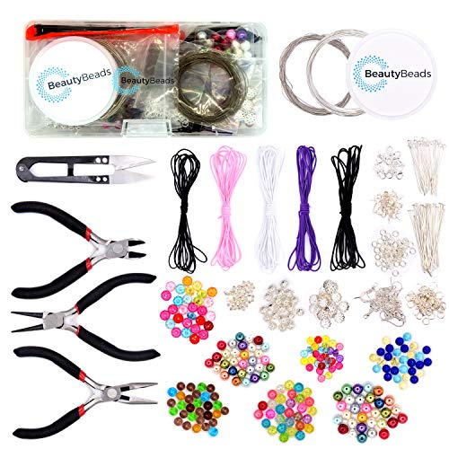 BeautyBeads Beading & Jewelry Making Kit - Extensive Jewelry Set w/ 500+ Pcs & Tools for Exceptional Custom Jewelry – Complete DIY Jewelry Kit for Adults/Kids, Beginners/Advanced, Jewelry Repair