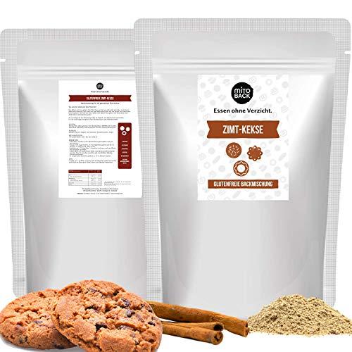 MITOBACK - Zimt Kekse Plätzchen Backmischung á 308 g für 48 Zimtkekse - Backmischungen für Weihnachten - Kleingebäck zum Backen: Low Carb, Glutenfrei, Zuckerfrei, Hefefrei