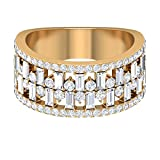 Anillo de diamante HI-SI de 2,12 quilates, anillo de diamante Baguette, anillo apilable, banda de media eternidad, anillo de oro de 10 quilates amarillo