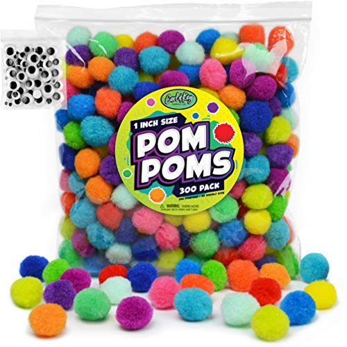 Carl & Kay [300 Pcs] 250 1 Inch Pom Poms & 50 Googly Eyes - Craft Pom Pom Balls - Pompoms for Crafts - Pom Pom for Crafts in Bright & Bold Assorted Colors - Large Pom Poms Arts and Crafts