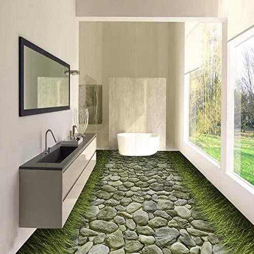 Pvc Wallpaper 3D Stereo Stein Straße Gras Boden Wandbild Selbstklebend Wasserdicht Badezimmer Küchenfliesen Bodenaufkleber 3D Home Decor-400 * 300Cm Wohnzimmer Badezimmer 3D Bodenfliesen Pvc Di