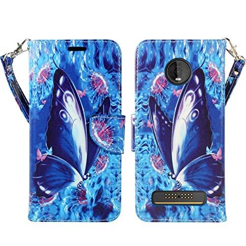 Motorola Moto Z4 Hülle, Moto Z4 Play [ZASE] Design Wallet Pouch Folio PU Leder Flip Cover w/[Kickstand] Kartenfach [Handgelenkschlaufe] für Moto Z4 5G Verizon, Violet Blue Butterfly