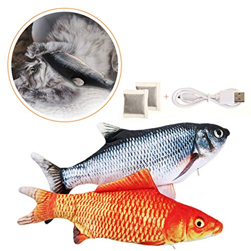 Charminer 2pcs Katzenspielzeug Fische, Elektrische Fische mit Katzenminze Katze Interaktive Spielzeug Elektrische Plüsch Fisch Spielzeug Fisch für Katze zu Spielen, Beißen, Kauen und Treten (rot)