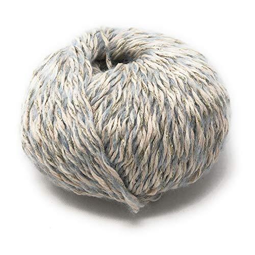 Chicca Tutto Moda Gomitolo per Lavoro a Maglia Ferri 4/5 per Misto Cotone 100 Grammi 300 m di qualità Made in Italy Orchidea (Perla - Oro)
