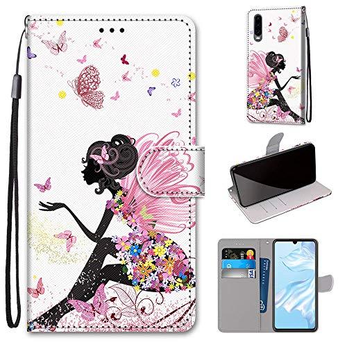 Miagon Flip PU Leder Schutzhülle für Xiaomi Mi 9 SE,Bunt Muster Hülle Brieftasche Case Cover Ständer mit Kartenfächer Trageschlaufe,Schmetterling Mädchen