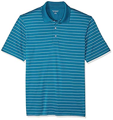 Amazon Essentials Men's Regular-Fit Quick-Dry Golf Polo Shirt, Dark Teal Stripe, Large