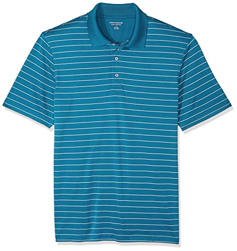 Amazon Essentials Men's Regular-Fit Quick-Dry Golf Polo Shirt, Dark Teal Stripe, Large