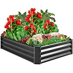 Best Choice Products 4x3x1ft Outdoor Metal Raised Garden Bed Box Vegetable Planter for Growing Fresh Veggies, Flowers… 8 EASY ASSEMBLY: Beveled edges can easily be screwed to the sides using a Phillips screwdriver and the included wingnuts and screws so it's ready in no time BUILT TO LAST: Made of powder-coated steel plates, with a rust-resistant finish to keep your garden bed looking its best for years to come OPEN-BOTTOM GARDEN BED: Built with an open base to prevent water buildup and rot, while allowing roots easy access to nutrients