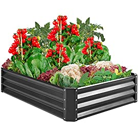 Best Choice Products 4x3x1ft Outdoor Metal Raised Garden Bed Box Vegetable Planter for Growing Fresh Veggies, Flowers… 4 EASY ASSEMBLY: Beveled edges can easily be screwed to the sides using a Phillips screwdriver and the included wingnuts and screws so it's ready in no time BUILT TO LAST: Made of powder-coated steel plates, with a rust-resistant finish to keep your garden bed looking its best for years to come OPEN-BOTTOM GARDEN BED: Built with an open base to prevent water buildup and rot, while allowing roots easy access to nutrients