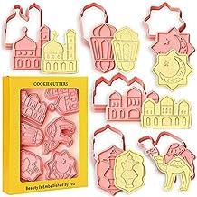 OfferDeal Eid Mubarak Cookie Cutters 6 PCS Ramadan Islamic Muslim Biscuit Mold, Moon, Islamic Star,Mosque, Lantern, Camel,...
