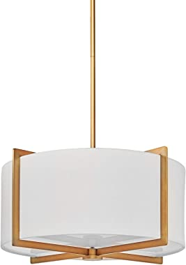 MOTINI 3 Light Drum Pendant Chandelier, Classic Ceiling Pendant Chandelier Fixture with Drum Shade, Gold Brushed Brass Drum L