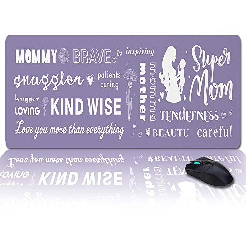 MIGAGA Extra Large Extended Gaming Mouse Pad(35x15 in),Mother's Day Best Mom Ever Mousepad,Long Non-Slip Rubber Base,XXL Large Keyboard Desk Mat for Desktop/Laptop/Office/Home