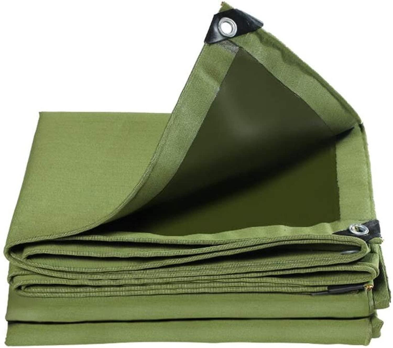 ZX タープ ターポリン防水日焼け止め肥厚屋外のサンシェイドキャンバス防雨生地キャノピー大型トラック用テントグリーン テント アウトドア (Color : 緑, Size : 5x8m)