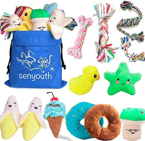 Senyoung Dog Toys,12 Pack Puppy Chew Toys Gift Sets,Interactive Cute and Safe Stuffed Plush Chew Squeaky Toys,Tough Rope Chew Toys, Durable and Washable, for Small/Medium Dogs.