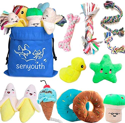 SenYoung Dog Toys,12 Pack Dog Squeaky Rope Chew Toy Sets, Interactive Cute and Stuffed Plush Squeaker Toys, Tough Puppy Teething Cotton Tug Soft Toys, Puppy Toys Small, for Small / Medium Dog Toys