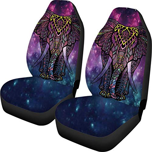 ZFRXIGN Personalized Car Seat Covers Elephant Galaxy Patterned Saddle Blanket Seat Covers Set of 2 Universal Fit Auto Truck Car SUV Seat Cover