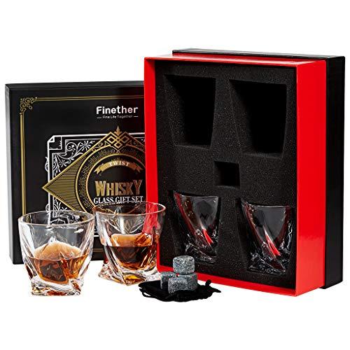Finether Vasos de Whisky con Cubos de Hielo Reutilizables, Juego de 4 Vasos, 340ML/12.8 oz Vaso de...