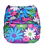 Bumberry Baby Reusable Diaper Cover Adjustable Size Without Inserts (Purple Flowers)