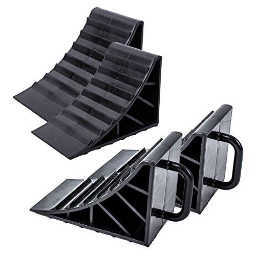 Unterlegkeil Kunststoff schwarz 4er Set mit Griff für Wohnwagen, Wohnmobil und Anhänger