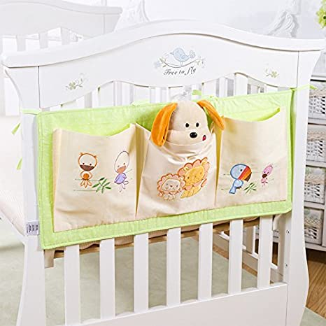 Baby Crib Bed Bedside Hanging Storage Bag Diaper Nappy Clothes Organizer Pouch