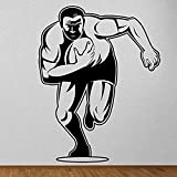 Stickers muraux ménagers Wall Sticker Joueur de rugby mur d'art autocollants Chambre Cartoon Square Rugby Sport Gym Wall Decal Décor Art Stickers auto-adhésif autocollant 42X54Cm