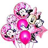 Hilloly 16 Pcs Globos De Cumpleaños,Minnie Globos,Decoraciones de cumpleaños de,Juego de Globos de Fiesta de,Decoraciones de Fiesta de Cumpleaños para Niños, de Globos Decorativos Colgantes