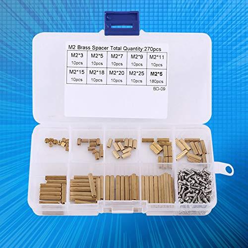 Tuercas de tornillo de separador de columna de latón Separador de latón Separador hembra-hembra 270 piezas para equipo de máquina