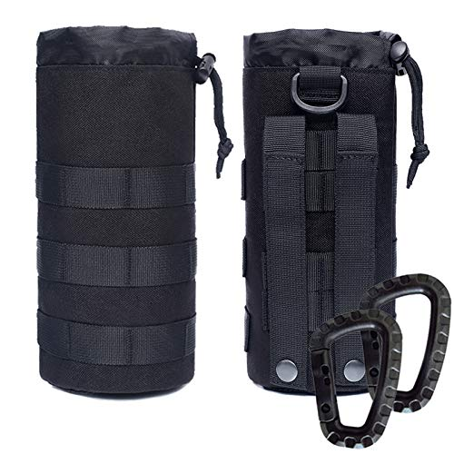 Novemkada Water Bottles Pouches - 1000D Tactical Molle Drawstring 32OZ Hydration Carrier Bag(2 Pack Black)