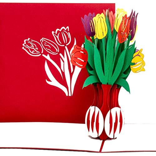'Biglietto tridimensionale pop-up, scheda 'tulipani–Fiori, Vaso di fiori tulipani, decorazione originale per fiori in carta di auguri