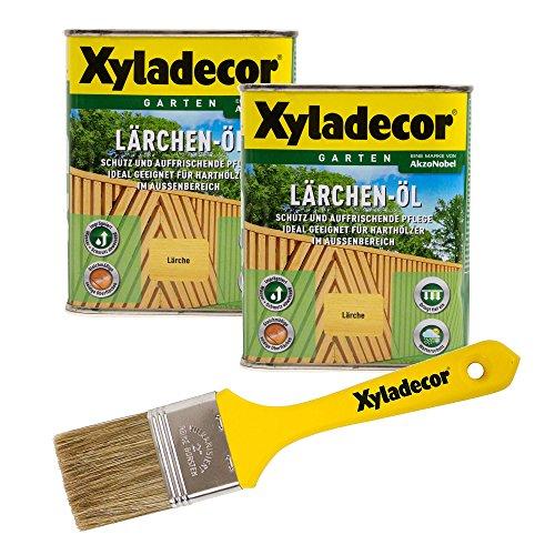 Xyladecor Lärchen-Öl, 1,5 l, helles Hartholz Plege- und Imprägnier Öl für Bangkirai, Eukalyptus, Eiche, Robinie und Zeder