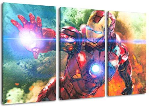Ironman Motiv, 3-teilig auf Leinwand (Gesamtformat: 120x80 cm), Hochwertiger Kunstdruck als Wandbild. Billiger als ein Ölbild! ACHTUNG KEIN Poster oder Plakat!