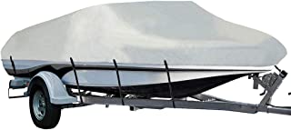 LEADALLWAY Heavy Duty 210D Polyester Cover Marine Grade Trailerable Boat Cover, Fits V-Hull Tri-Hull Runabouts and Bass Boats, 16-18ft, Silver