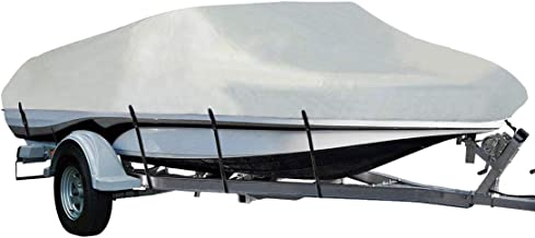 LEADALLWAY Heavy Duty 210D Polyester Cover Marine Grade Trailerable Boat Cover,Fits V-Hull Tri-Hull Runabouts and Bass Boats,Silver…