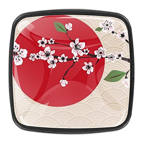 (4 piezas) pomos de cajón para cajones, tiradores de cristal para gabinete con tornillos para armario, hogar, oficina, armario, japonés, rosa, cerezo, flores, rojo, sol, 35 mm