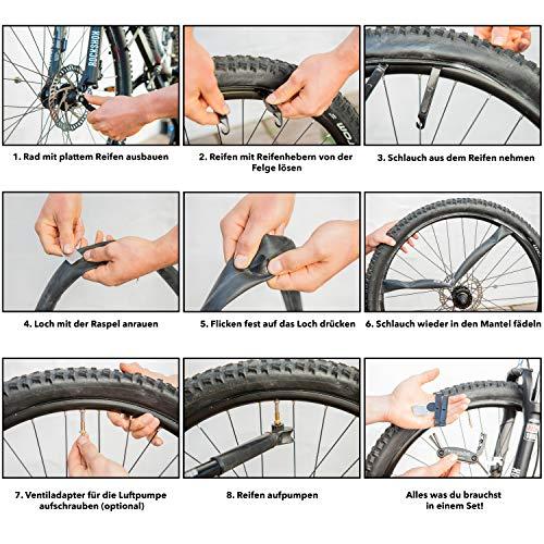 Fahrradwerkzeug – Praktisches Fahrrad Werkzeug- und Reparatur Set – Flickzeug mit 16-in-1 Multitool, Ventiladapter & Aufbewahrungstasche – Fahrradflickzeug I Reparaturset I Reifenflickzeug - 5