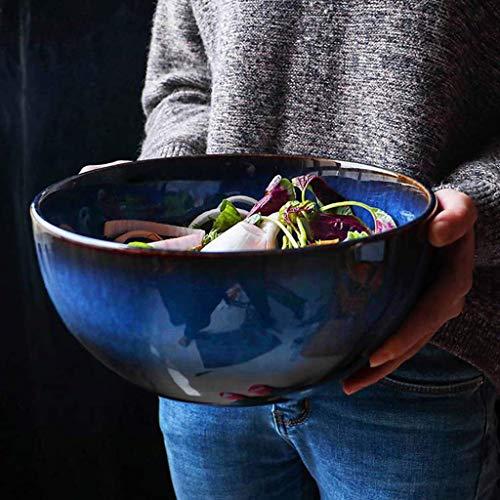 QTQZ Cuenco de Ensalada Grande de Estilo japonés de 9 Pulgadas, Cuenco de Fideos Grande Creativo Cuenco de cerámica para Sopa, Cuenco de Sopa, vajilla Retro