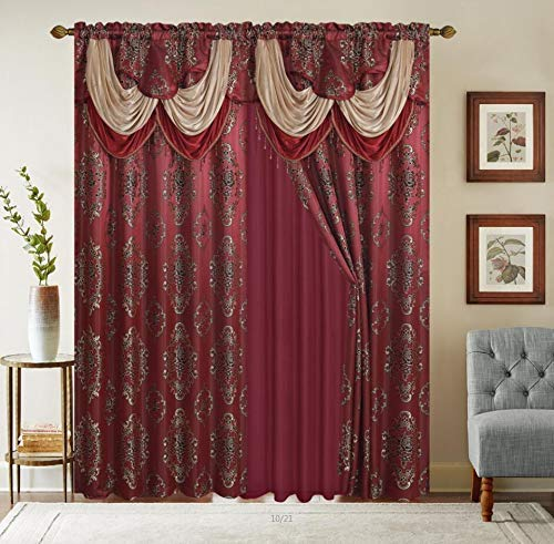 """Rod Pocket Jacquard Window 84 Inch Length Curtain Drape Panels w/ attached Valance + Sheer Backing + 2 Tassels - 84"""" Floral Curtain Drape set for Living & dining rooms, Heavy, (Layla, 84"""", Burgundy)"""