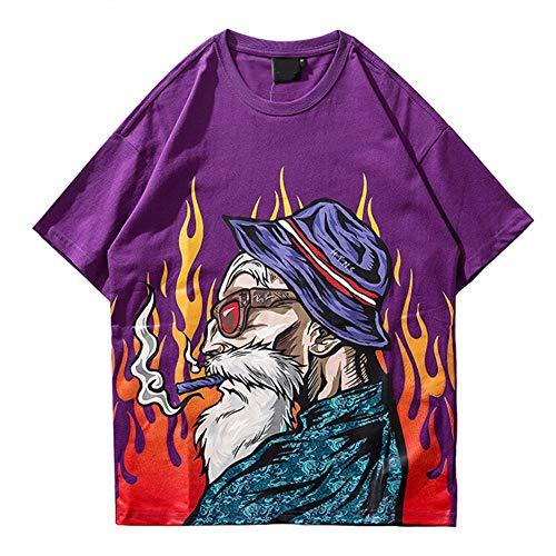 Camiseta de Verano Streetwear Harajuku Camiseta Japonesa de Hombre Viejo Hip Hop Camiseta de Estilo japonés Dibujos Animados Hiphop Tops Camisetas Algodón