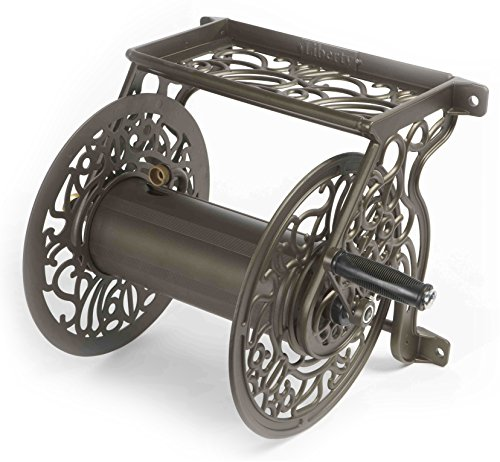 Liberty Garden 704 Decorative Cast Aluminum Wall Mount Garden Hose Reel, Holds 125-Feet of 5/8-Inch Hose - Bronze
