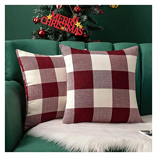 Paquete de 2 coberturas de cojín Cheque Cubiertas de almohadas de tirar a cuadros Cubiertas Casas de almohada de lanzamiento cuadrado para la decoración para el hogar Caja de almohada Relleno Donut Co