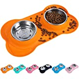 Super Design Double Bowl Pet Feeder Stainless Steel Food Water Bowls with No Spill Silicone Mat for Dogs Cats, Medium, Orange