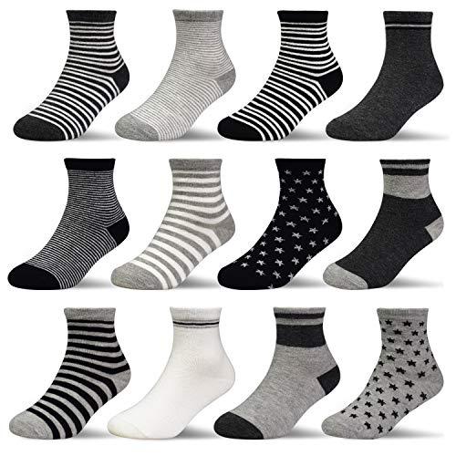 HYCLES Kinder Anti Rutsch Knöchel Socken - 12 Paar ABS Socken für 1-3 Jahre Baby Jungen Mädchen Kinder Kleinkind Säugling Neugeborenes Gestreifter und sternförmiger Stil
