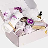 Spa Gift Set, Handmade Lavender Gift Box, Relaxing 9 pcs Package for Women, Mother, Including Soap Bar, Facial Mask, Shower Streamer, Body Oil, Bath Bomb, Lip Balm, Towel, Soy Candle & Sponge.