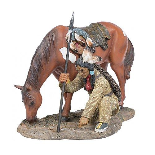 A.G.S. Deko Indianer Figur Krieger auf Spurensuche Dekoration Indianerfigur Wilder Westen Native American USA