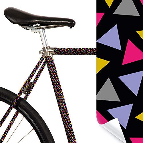 MOOXIBIKE Confetti schwarz bunt Fahrradfolie mit Muster für Rennrad, MTB, Trekkingrad, Fixie, Hollandrad, Citybike, Scooter, Rollator für circa 13 cm Rahmenumfang