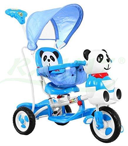 Kinder Dreirad-Schaukelsitz 2 In 1 Panda Kinderwagen Kinderfahrrad Babyfahrrad Kinderfahrzeuge - Blau